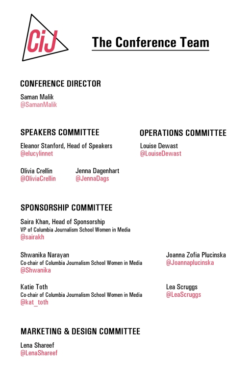 Bios of the conference team in program